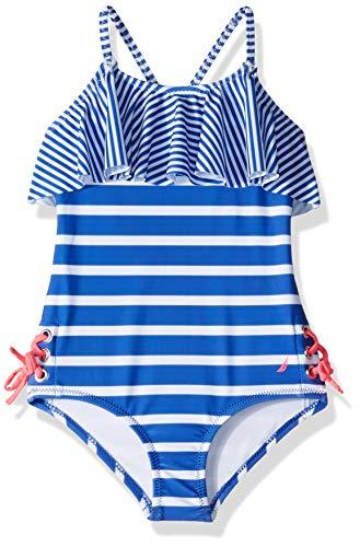 Nautica Big Girls' One Piece Swimsuit, Stripe Dazzle Blue, XL16