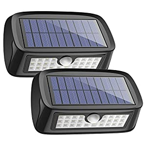 Solar Lights Waterproof 26 LED Wall Light Outdoor Security Night Lighting with Motion Sensor Detector for Patio Deck Yard Garden Lawn Back Door Step Stair Driveway Pool Fence Porch, Pack of 2