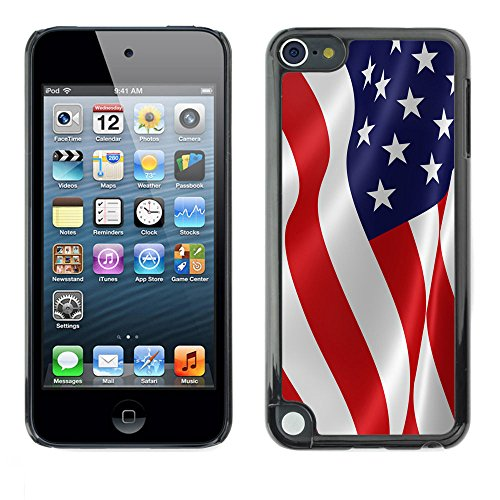 Graphic4You Waving Flag American USA United States Thin Slim Rigid Hard Case Cover for Apple iPod Touch 5