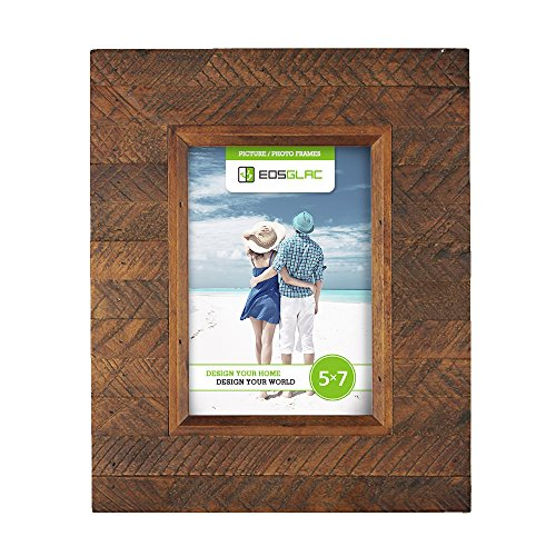 EosGlac Rustic Wooden Picture Frame, 5 x 7 Distressed finish Wood Plank Design, 100% Premium Handmade (5x7