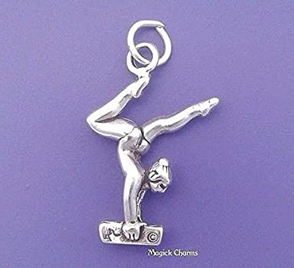 Amazon Com Gymnast On Balance Beam Charm Sterling Silver Gymnastics