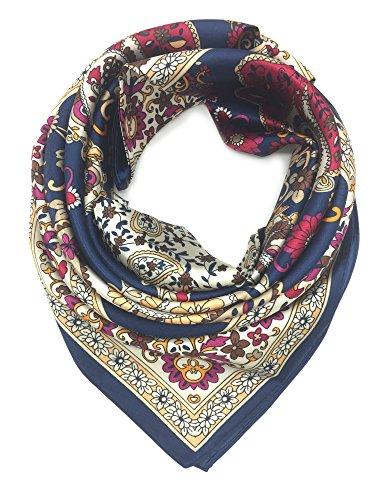 Fashion Bandanna - YOUR SMILE Silk Like Scarf Women's Fashion Pattern Large Square Satin Headscarf (Retro Bandanna)
