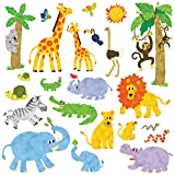 Decowall DW-1513 Jungle Animals Kids Wall Stickers Wall Decals Peel and Stick Removable Wall Stickers for Kids Nursery Bedroom Living Room (Medium)