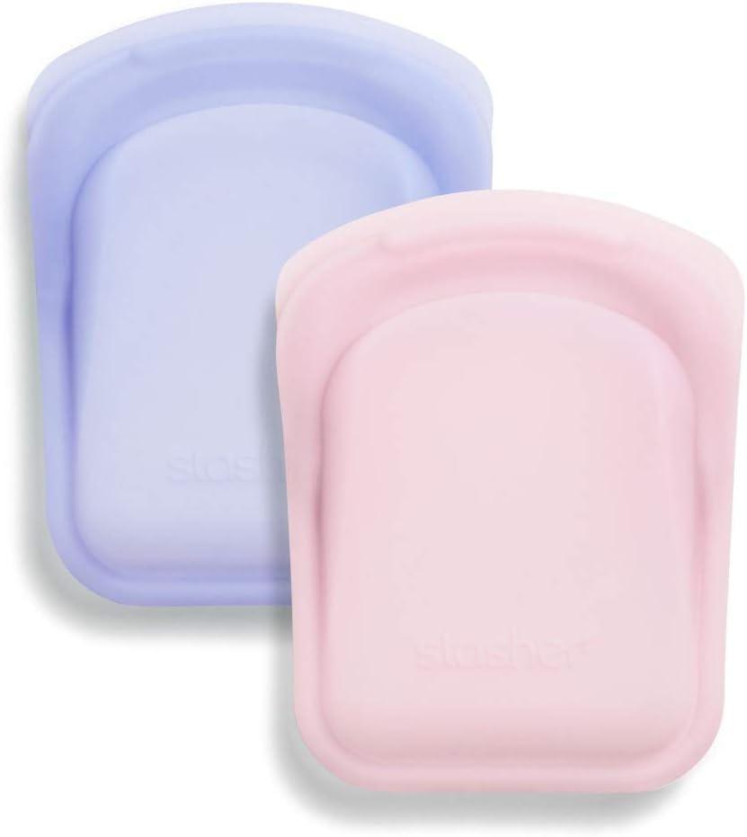 Stasher Platinum Silicone Food Grade Reusable Storage Bag, Pink + Lavender (Pocket Size, 2 Set) | Reduce Single-Use Plastic | Cook, Store, or Freeze | Leakproof, Dishwasher-Safe, Eco-friendly | 4 Oz