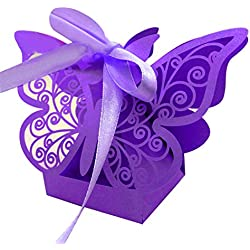 Zorpia New 50pcs Laser cut Butterfly Wedding favor box candy box gift box wedding favors event party supplies wedding decoration ZRA0168922 (Purple)