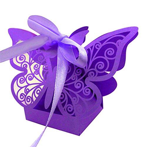 zorpia 50pcs Laser Cut Butterfly Wedding Favor Box Candy Box Gift Box Wedding Favors Event Party Supplies Wedding Decoration ZRA0168922 (Purple)