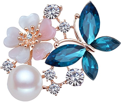 Crystal Faux Pearl Clear - Gyn&Joy Golden Tone Womens Floral Blue Butterfly Brooch Pin with Faux Pearl Clear Crystal Rhinestones