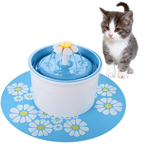 Pet Fountain Cat Dog Water Dispenser- Healthy and Hygienic Super Quiet Automatic Electric Water Bowl, Drinking Fountain for Dogs, Cats, Birds and Small Animals (1.5L, Blue) by Petacc