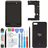z10 replacement parts - OmniRepairs LCD Display with Glass Touch Screen Digitizer Assembly with Middle Frame Housing and Battery Door Replacement For Blackberry Z10 4G LTE and Repair Toolkit (Black)