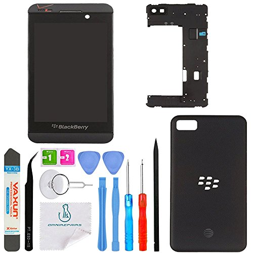 Middle Housing Assembly - OmniRepairs LCD Display with Glass Touch Screen Digitizer Assembly with Middle Frame Housing and Battery Door Replacement For Blackberry Z10 4G LTE and Repair Toolkit (Black)