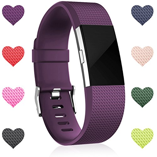 Wepro Replacement Bands for Fitbit Charge 2 HR,Plum, Small