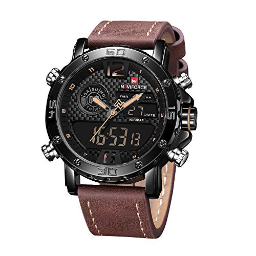 Mens Waterproof Sports Digital Leather Band Wrist Watch Multi-Function Display Backlight Watches (9134Brown)