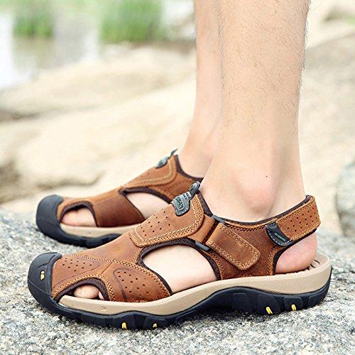 Xing LIN sandali uomo estate Outdoor sandali da uomo di grandi dimensioni Baotou leggero traspirante pneumatico spiaggia scarpe stile britannico scarpe casual uomo 45 Brown