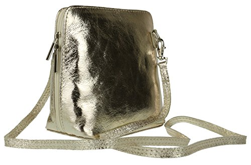 Body HandBags Italian Shoulder Bag Rigid Leather Real Cross Genuine Gold Girly Light A7FpU