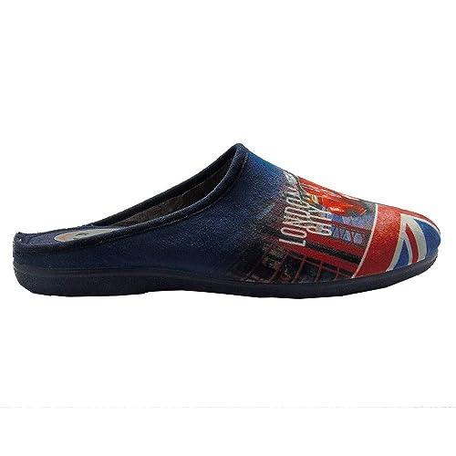 222SHOP Vespa Azul, Zapatilla de Andar por casa para Hombre: Amazon.es: Zapatos y complementos