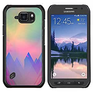 Montañas Polígono Arte trullo púrpura Sun- Metal de aluminio y de plástico duro Caja del teléfono - Negro - Samsung Galaxy S6 active / SM-G890 (NOT S6)