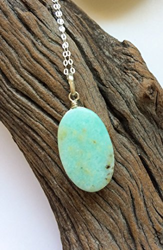 (Blue Opal pendant, Peruvian opal, Oval shape, blue green natural stone, Sky blue Opal, Opal silver jewelry, Natural gemstone, Gift for her)