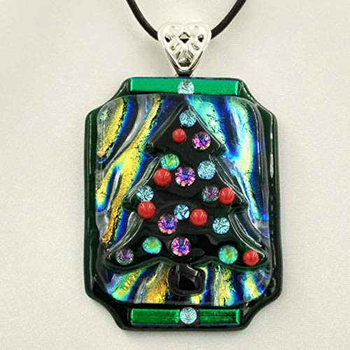OLD Time CHRISTMAS TREE Dichroic Fused Glass Jewelry Pendant with Necklace Holiday Gift for Ladies