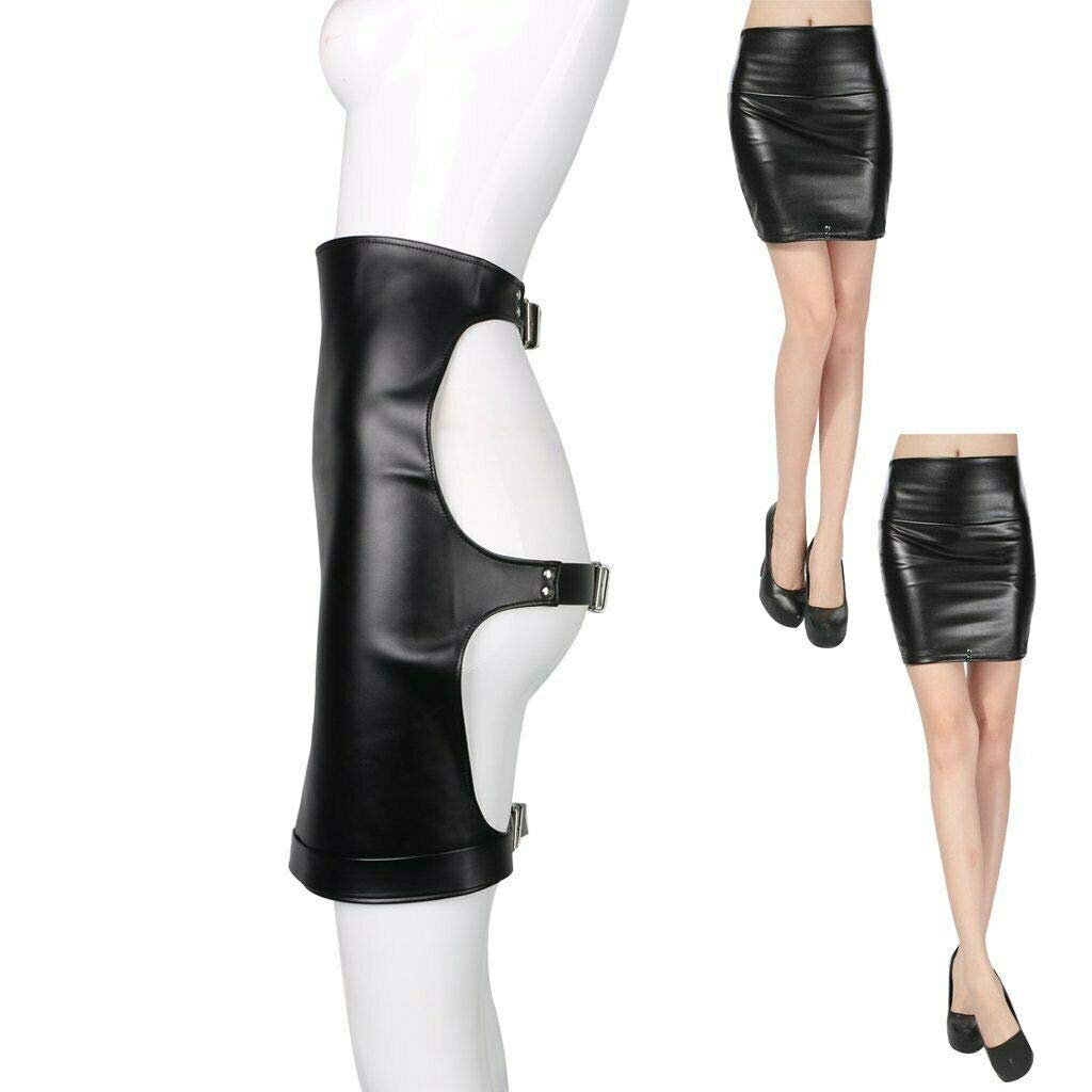 Faux Leather Fetish Play Spanking Skirt Costume SM Bondage Sex-Toys for Couples by CQDZ