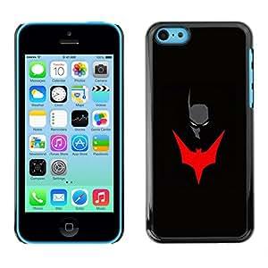 Shell-Star Arte & diseño plástico duro Fundas Cover Cubre Hard Case Cover para Apple iPhone 5C ( Mask Bat Red Superhero Art Black Comic )