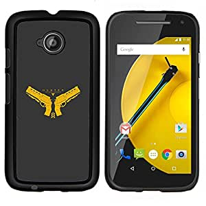 Cazador- Metal de aluminio y de plástico duro Caja del teléfono - Negro - Motorola Moto E2 / E(2nd gen)