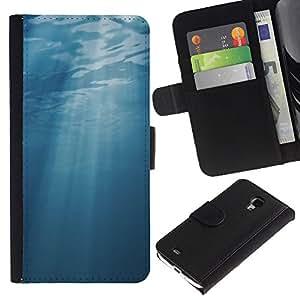 WINCASE ( No Para S4 i9500 ) Cuadro Funda Voltear Cuero Ranura Tarjetas TPU Carcasas Protectora Cover Case Para Samsung Galaxy S4 Mini i9190 - mar azul luz subacuática sol