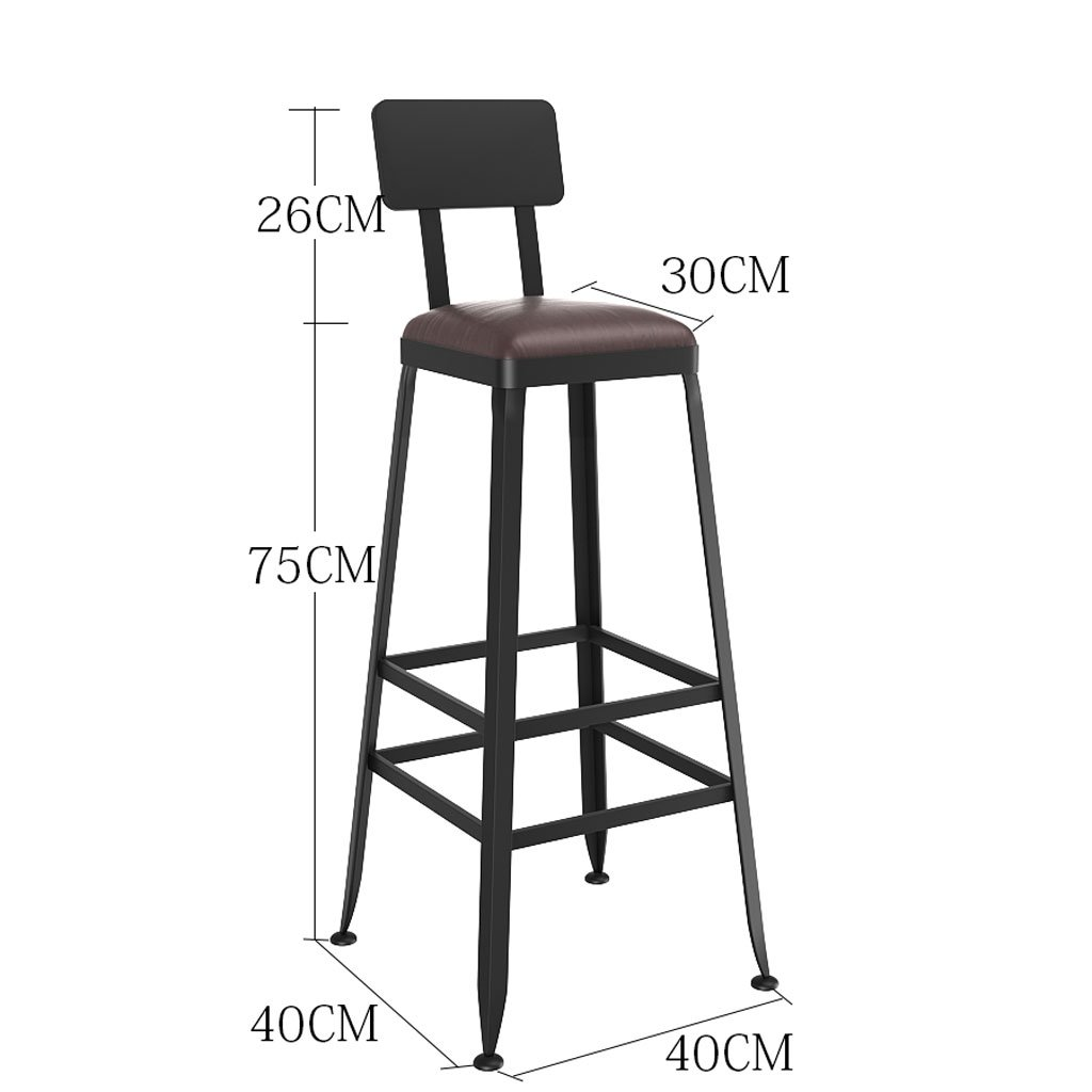 Leather 404075cm A-Fort Bar stools Solid Wood European Wrought Iron Bar stools Bar stools Modern Minimalist Chairs High stools Bar stools (color   Leather, Size   40  40  45cm)