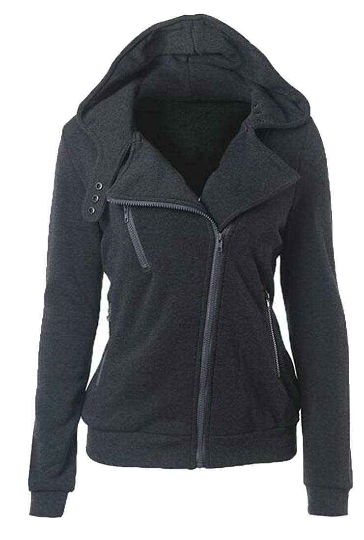 WSPLYSPJY Womens Autumn Oblique Zipper Slim Fit Lapel Sweatshirt Hoodie
