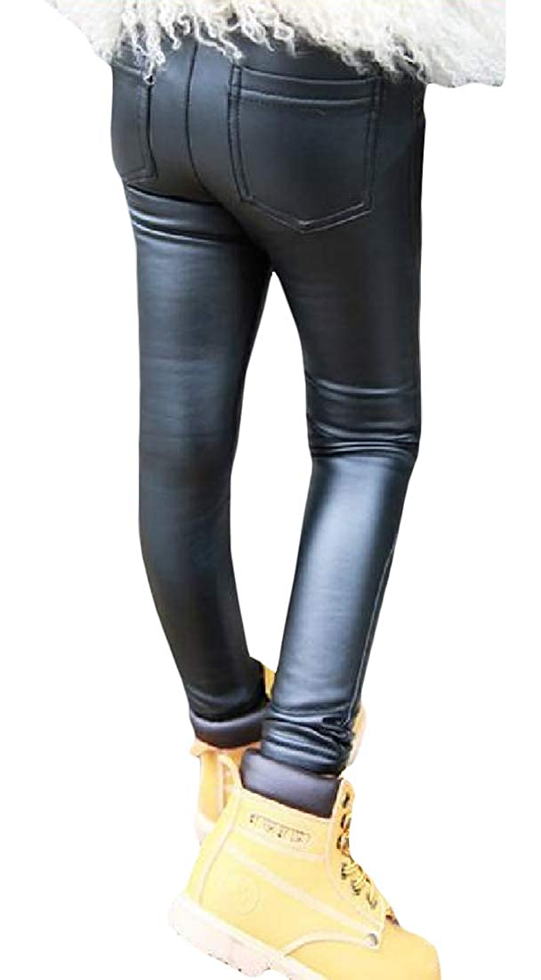 Pcutrone Girl Faux Leather Legging Winter Fashion Fleece Warm Pants