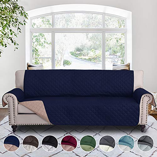 (RHF Reversible Cover for Extra-Wide Couch, Sofa Cover, Extra-Wide Couch Cover for Dogs, Extra-Wide Couch Covers for Pets, Couch Slipcover, Machine Washable (Sofa-Extra Wide: Navy/Sand))