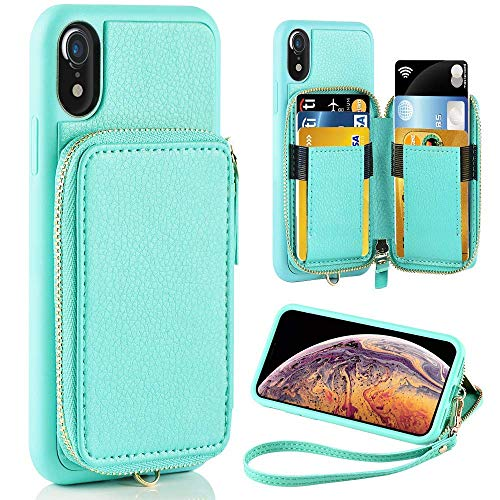 iPhone XR Case, ZVE iPhone XR Wallet Case with Credit Card Holder Slot Shockproof Protective Leather Wallet Zipper Pocket Purse Handbag Wrist Strap Case for Apple iPhone XR 6.1 (2018) Blue