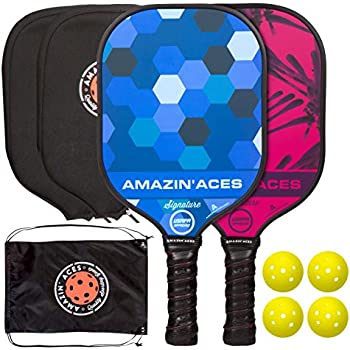 Amazin Aces Signature Pickleball Paddle | USAPA Approved | Graphite Face & Polymer Core | Premium Grip | Paddles Available as Single or Set | Set Includes ...