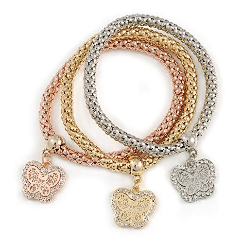 Avalaya Set of 3 Thick Mesh Flex Bracelets with Butterfly Charm in Gold/Silver/Rose Gold - 19cm L