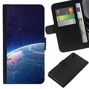 LECELL--Cuero de la tarjeta la carpeta del tirón Smartphone Slots Protección Holder For Sony Xperia Z2 D6502 -- Tierra desde el espacio --