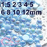 Fiesta Resin round flatback AB light blue half pearl 1.5-12mmmm 2000-10000pcs/lot flat back half pearl: 14mm 100pcs