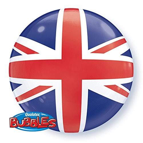 Qualatex 22 Inch Union Jack Bubble Balloon (One Size) (Blue/White/Red)]()