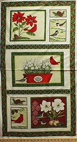 dddc81808ed2 23 quot  X 44 quot  Panel Christmas Cardinals Chickadees Birds Poinsettias  Narcissus Flowers Floral Plants Pine