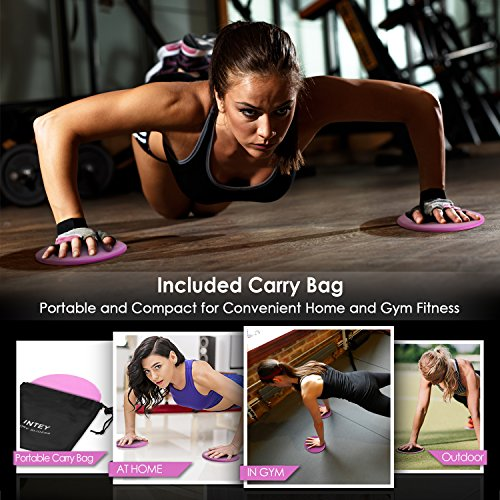 INTEY Exercise Sliders Fitness Workout Sliders Gliding Discs. Dual Sided Use on Carpet or Hardwood Floors, Bonus Carry Bag and Gift Box by INTEY (Image #4)