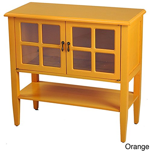 Heather Ann Creations Modern 2 Door Accent Console Cabinet With 4 Pane Glass Insert and Bottom Shelf Orange (Console Orange)