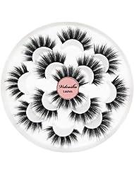 Veleasha 5D Faux Mink Lashes Handmade Luxurious Volume Fluffy Natural False Eyelashes 7 Pairs | Dubai