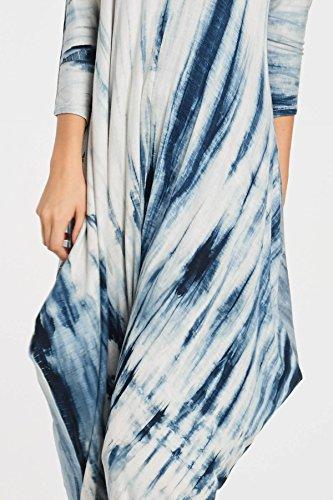 Annabelle Women's Long Sleeve Comfy Harem Tie Dye Jumpsuit Romper with Pockets Teal Medium J8005