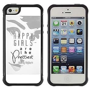 Suave TPU GEL Carcasa Funda Silicona Blando Estuche Caso de protección (para) Apple Iphone 5 / 5S / CECELL Phone case / / Girls Prettiest Woman Quote Audrey /