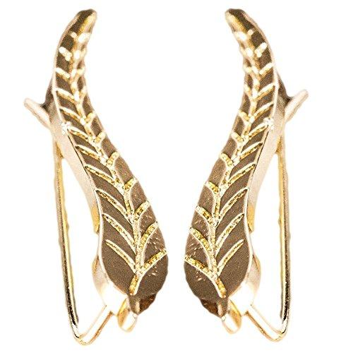 Gold Climber Earrings: Leaf Crawler Earrings, Wrap Cuff Earrings for Women - Gift Ready in Black Velvet (Black & Gold Leaf Earrings)