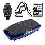 VIBRAPOWER Slim 2 Power Vibration Plate Trainer with Free DVD, Resistance Bands + Remote Watch, Blue