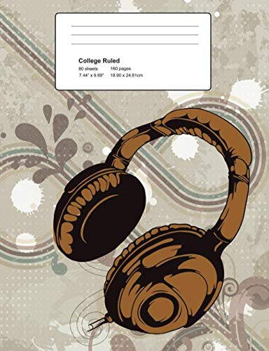 College Ruled 160 Pages: Retro Vintage Headphones Composition Notebook