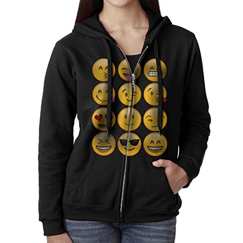 Women's Emoji Long Sleeve Zipper Hoodie