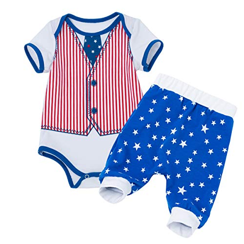 IBTOM CASTLE Newborn Baby Boy My 1st 4th of July Patriotic Outfit American Flag Star Romper Bodysuit Shorts Pants Set Clothes Red Striped 3-6 Months