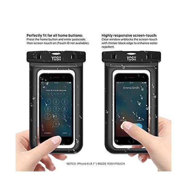 YOSH Funda Impermeable Móvil Universal 2 Unidades, IPX8 Certificado, Bolsa Sumergible para iPhone X 8 7 6s Samsung J5 J3 J7 S8 S9 Huawei P20 P10 P9 y Otros Móviles hasta 6.3 Pulgadas 4