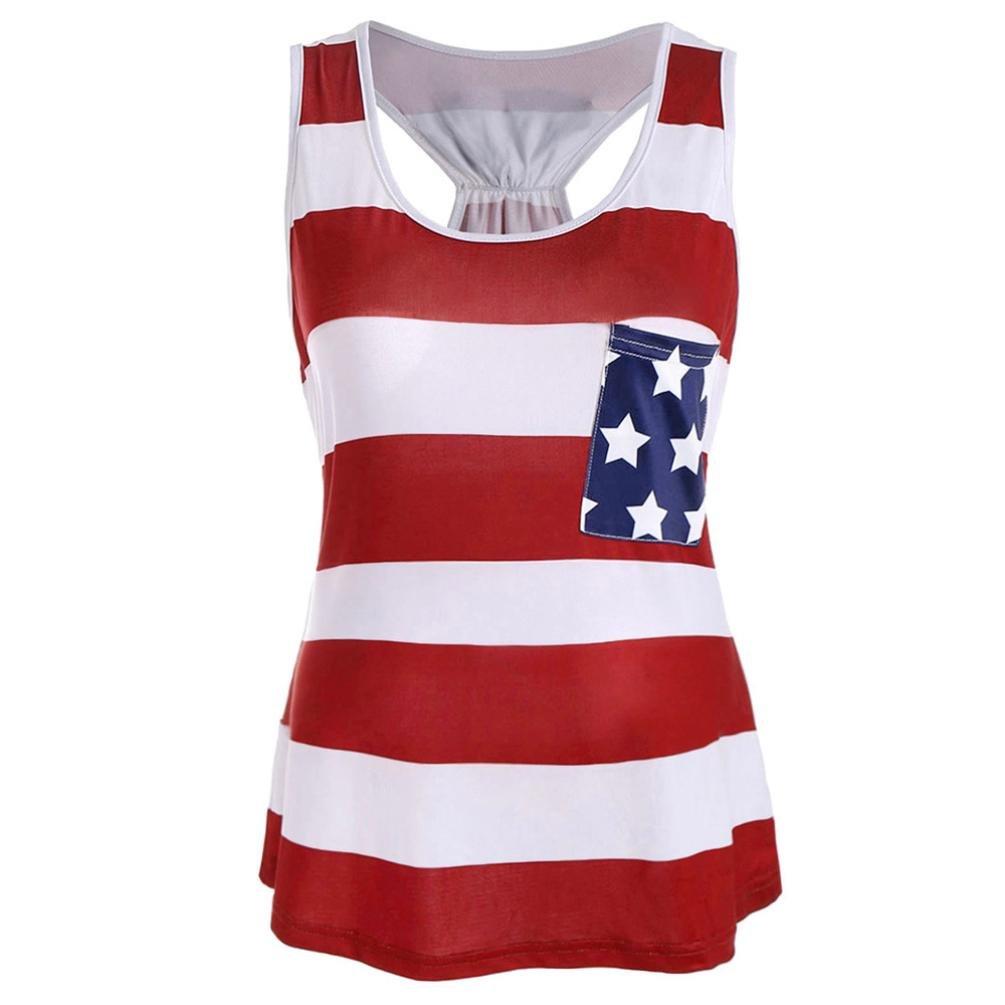 ARINLA 2018 World Cup Women American Flag Printed Tank Tops Blouse T Shirt