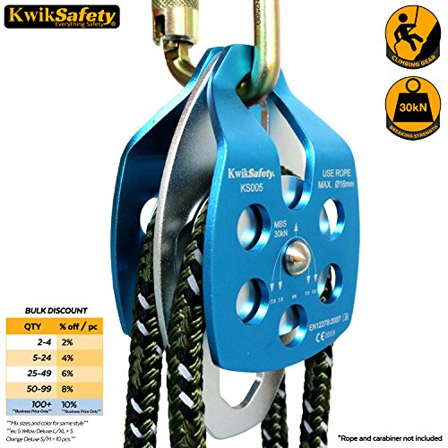 Double Pulley (KwikSafety Aluminum Alloy 30KN Double Wheel Pulley, Large Mobile, Lightweight, Rope Pulley, Rescue Lifting, High Performance Pulley Wheel, Climbing, Heavy Duty 6500LBS Breaking Strength, Blue/Silver)
